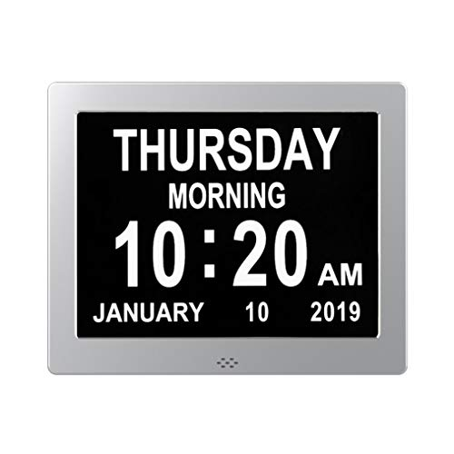 TMC - Reloj Digital de Metal para pérdida de Memoria, Calendario Digital, Pantalla Regulable, Extra Grande, no abreviado, día y Mes con 5 alarmas y 3 recordatorios de Medicina