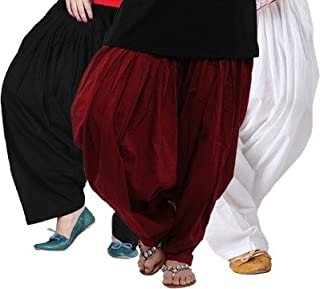 22a6080130 Pistaa's Women's Cotton Patiala Bottom(ACPSBLKMRNMW Black, Maroon and White  Free ...