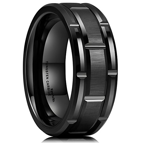 King Will Classic Mens 8mm Black Plated Tungsten Carbide Wedding Band Brick Pattern Brushed Finish(14)
