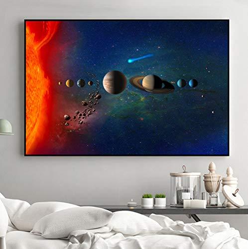 Aymsm Galaxie Sterne Astronaut Planet Loch Weltraum Poster und Universum Erde Meteoriten Wandbilder für Wohnzimmer Dekoration 40x60cm Rahmenlos