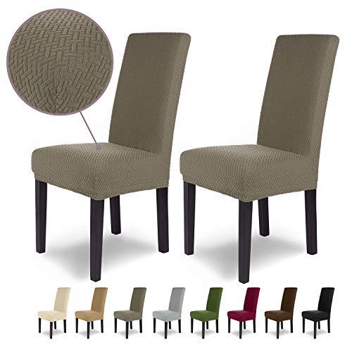 SCHEFFLER-Home Luna 2 Fundas de sillas, Estirable Cubiertas, Chenilla extraíble flexibel Funda con Banda elástica, Topo