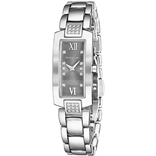 Raymond Weil Shine Womens Rectangular Diamond Watch - Swiss Made Grey Face with Sapphire Crystal - Stainless Steel Band with Additional Black Satin Leather Band Rectangle Quartz Watch 1500-ST-00785