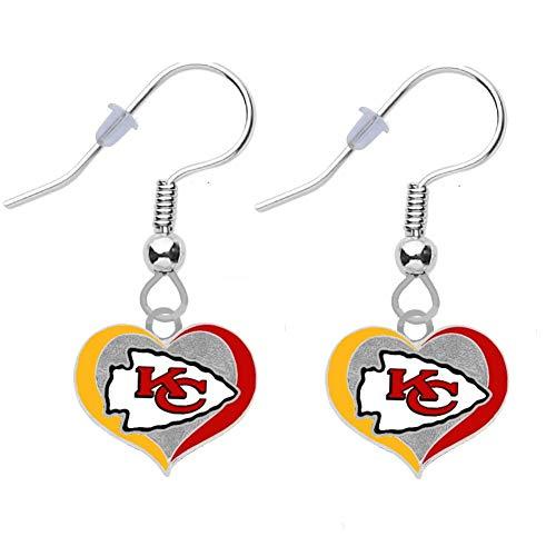 Kansas City Chiefs Swirl Heart Earrings Pierced