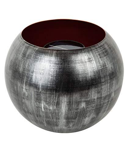 Dehner Solar Feuerkugel Fano, Ø 25 cm, Höhe 20.5 cm, Metall, grau/braun
