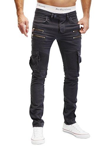 Merish Jeans Pantaloni Uomo Stile Biker Cargo Modell J2055 Antracite W34