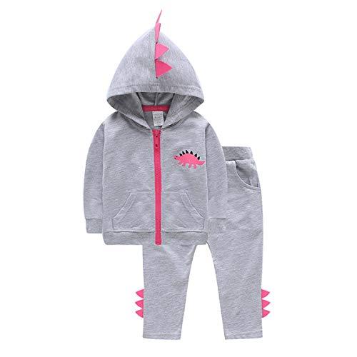 HaiQianXin 2pcs / Set Automne Hiver Mode bébé Fille Bot Dinosaure à Capuche Tops Zipper Manteau Pantalon Long Outfits Ensemble (Color : 3Y-4Y)