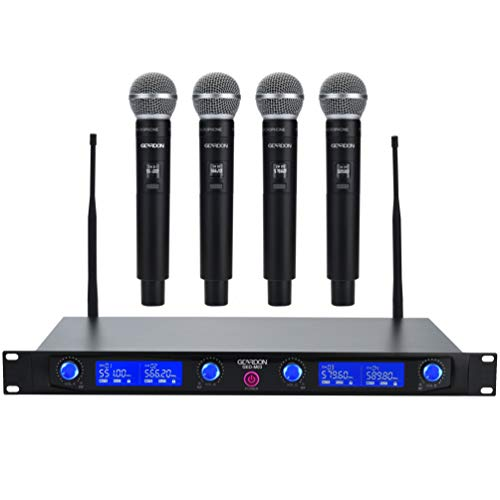 Geardon Pro Wireless Microphone System 4 Handheld Professional Fixed Frequency Channel Cordless Mics Set UHF Microphones with Rechargeable Receiver for Karaoke,Parties,Church,Speaker
