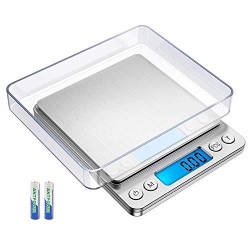 LiRiQi Feinwaage 500g/0,01g, Digitale Küchenwaage, Briefwaage, Taschenwaage, Haushaltswaage,LCD-Display mit Hintergrundbeleuchtung, Küchenwaage mit Tara-Funktion, mit Tablett, 2 Batterien Enthalten