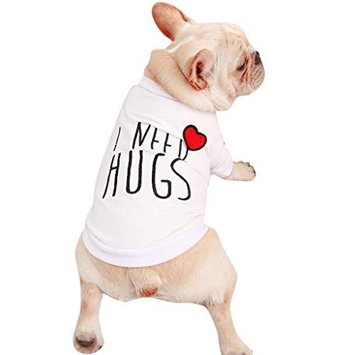 SUGEER Hundekleidung Hemd Weste T-Shirt Haustier-Kleidung,Sommer und Herbst Hunde Pullover Bekleidung Dog Katze Haustier,für Kleine Welpen,Schnauzer,Teddy,Pudel