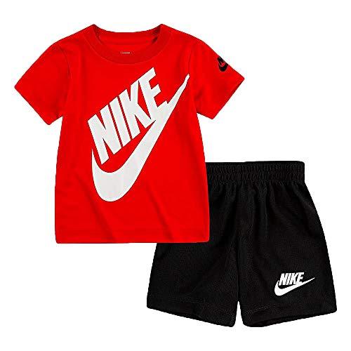 Nike - Juego de camiseta y pantalones cortos de manga corta para niño Dri-Fit (infantil), 12 Meses, rojo (Red Multi)