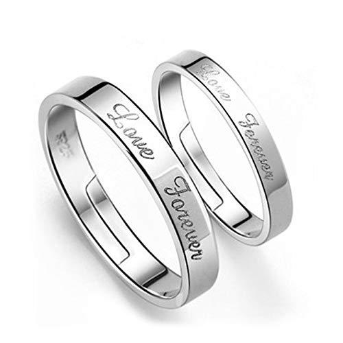 GDYX Anillo de compromiso de plata de ley 925 ajustable, anillo de plata de ley ajustable con diseño de amor, tamaño d58