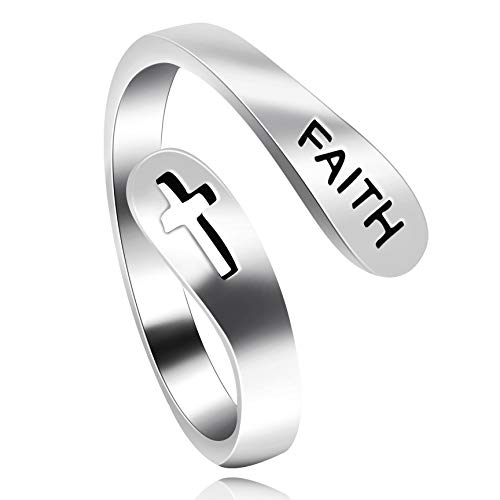 Uloveido Adjustable 925 Sterling Silver Hollow Cross Faith Ring for Girls, Christian Finger Open Rings, Religion Jewelry Y531 (Platinum)