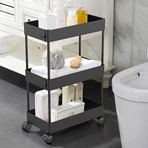 AOJIA Slim Storage Cart 3 Tier Slide Out Storage Cart Bathroom Storage Organizer Bathroom Storage Cart Small Rolling Cart with Casters Wheels for Bathroom Kitchen Laundry Narrow Places