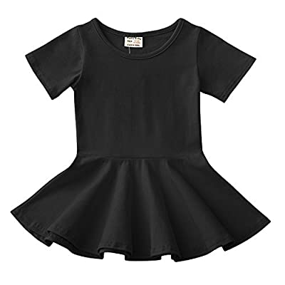 Infant Toddler Baby Girls Dress Cozy Ruffles Long Sleeves Cotton (2-3Year(3T), Black 1)