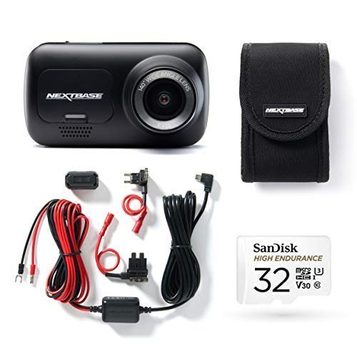 Nextbase 222 Dash Cam, Hard Wiring Kit, Class 10 U3 32GB SD Card & Case included- Full 1080p/30fps HD In Car Camera- 140° Wide Viewing Angle Intelligent Parking Mode- G-Sensor- Click and Go Mount