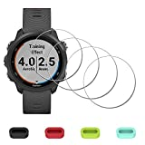 [4 Pack] Screen Protector for Garmin Forerunner 245 Music / 245 Smartwatch + Silicone Anti-dust Plugs, iDaPro Tempered Glass Anti-Scratch Bubble-Free