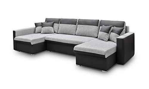 Canapé d'angle 7 places Noir Tissu Confort