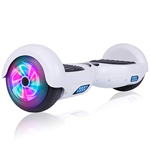 """Felimoda Hoverboard 6.5"""" Self Balancing Hoverboard, Two-Wheel Self Balancing Scooter with LED Light, Hoverboard for Kids & Adult, UL2272 Certified (A01White (no Bluetooth))"""