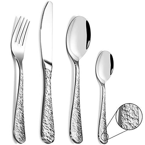 BEWOS Juego de cubiertos de titanio plateado de 24 piezas, servicio para 6, cubiertos de acero inoxidable martillado, pulido a espejo, apto para lavavajillas