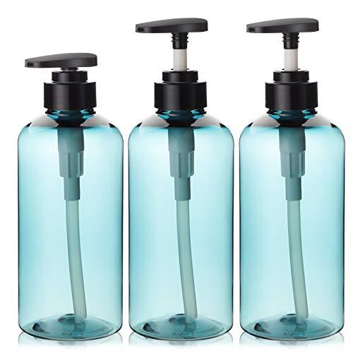 Segbeauty 3 stücke Seifenspender Flaschen für Bad, 500 ml Nachfüllbare Pumpflaschen für Flüssigseife Shampoo Conditioner Duschgel Hotel Home Kunststoffpresse Spender- Blau