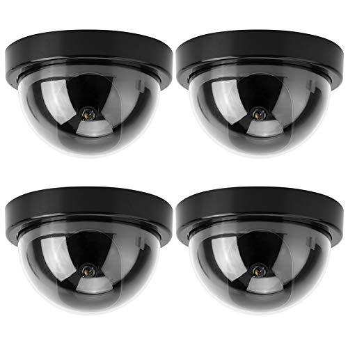 Cámara Simulada 4PCS Cámara de Simulación de Cúpula CCTV Falsa Cámara de Seguridad con Luz Intermitente de Advertencia Led Adecuado para Supermercados Hoteles Estacionamientos(Negro)