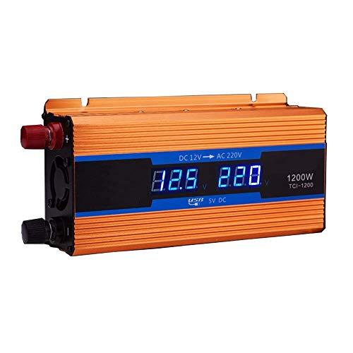 Inversor de Corriente para automóvil 1200W DC 12V a 240V 230V AC Vehículo para automóvil con Pantalla LCD Un USB y Dos inversores de Ventiladores de refrigeración