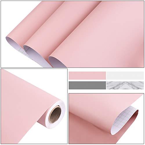 Haberi Zelfklevende meubelfolie voor meubels, keuken, kastdecoratie, waterdichte designfolie, zelfklevende muurstickers van pvc, 0,6 x 5 m, plakfolie, meubelstickers, keukenfolie, behang, waterdichte stickers roze