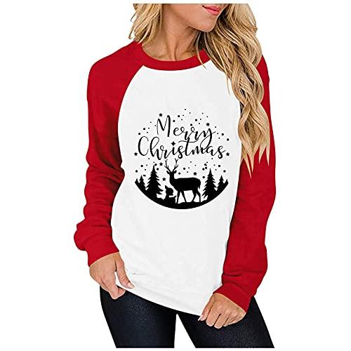 Sudadera con capucha para mujer, diseño de árbol de Navidad, con estampado de cuadros y costuras, 18#, XL