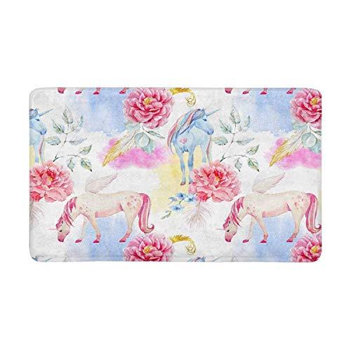Kanaite Acuarela Pegasus Unicornio peonía Rosa Flores