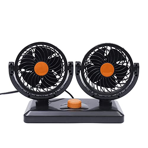 Ymxcwer85851 Ventilador de Aire de enfriamiento automático de Doble Cabezal para automóvil Tablero de Instrumentos de ventilación Ventiladores de automóvil eléctricos (Naranja) 24V