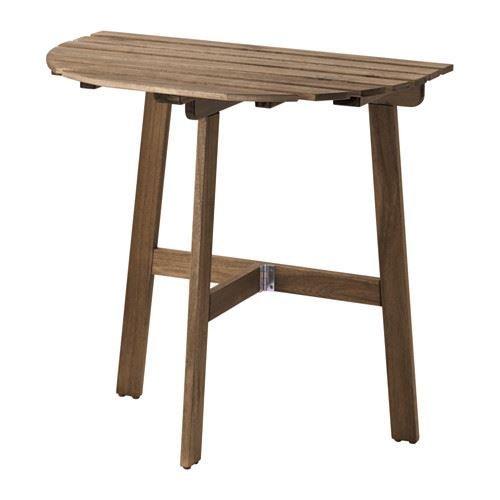 ASKHOLMEN - Tisch für Wand, Outdoor, klappbar, grau-braun gebeizt