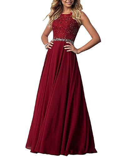 EVANKOU Damen Chiffon Spitze Abendkleider Elegant Brautkleid Lang Festkleid Ballkleid P29 Burgund Größe 38