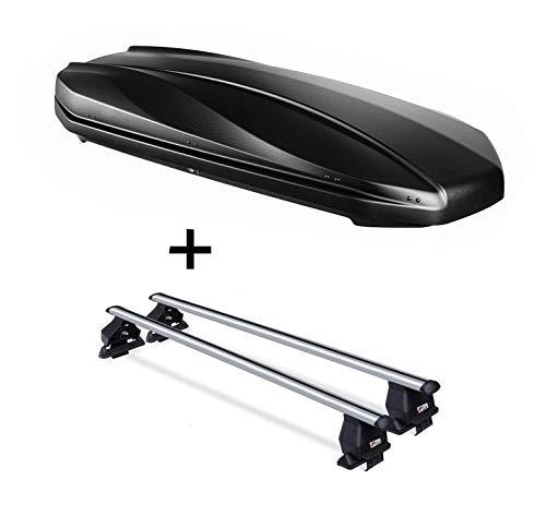 DACHBOX Strike 440 liter mat zwart + imperiaal Menabo Tema compatibel met VW Up (hatchback 3/5-deurs) vanaf 2011