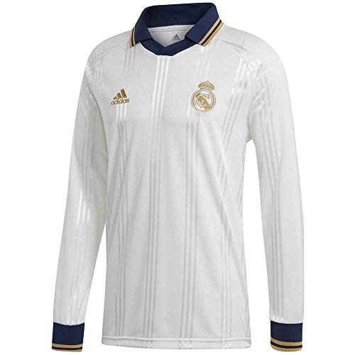 adidas Men's Real Madrid Icons Longsleeve Jersey (X-Large) White