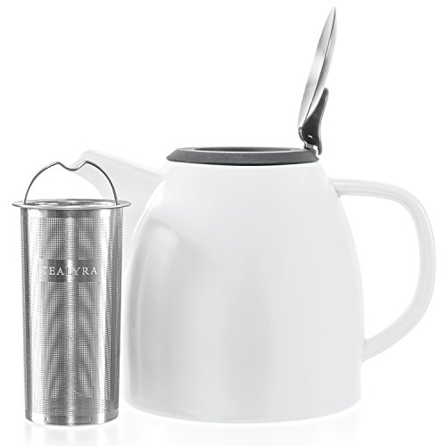 Tealyra  Drago Ceramic Teapot White  37oz 46 cups  Large Stylish Teapot with Stainless Steel Lid ExtraFine Infuser To Brew Loose Leaf Tea  LeedFree  1100ml