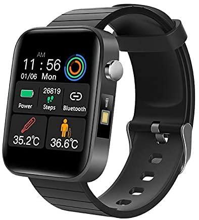 FitnessTracker Uomo Donna Smart Watch Misurazione della Temperatura corporeaSonno Cardiofrequenzimetro Monitor per la Pressione del Sangue Sportivo Activity Tracker Notifiche Messaggi(T68)…