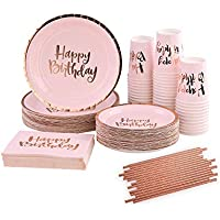Ottin Pink Happy Birthday Tableware Party Supplies Set