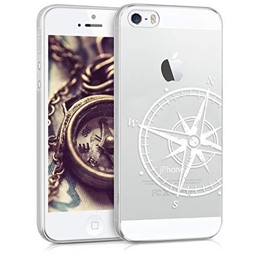 kwmobile Cover Compatibile con Apple iPhone SE (1.Gen 2016) / 5 / 5S - Custodia in Silicone TPU - Back Case Cover Protettiva Cellulare Bussola Legno Bianco/Trasparente