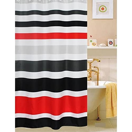 Amazon Fabric Shower Curtainmulti Color Striped Black Red Home Kitchen