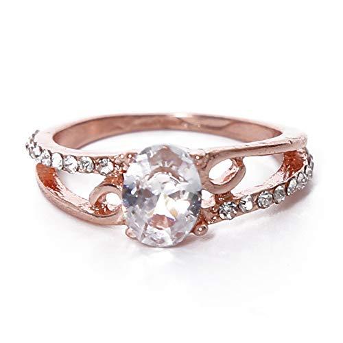 LPOQW Juego de anillos de boda para mujer con diamantes de imitación ovalados de circonita, anillo de cristal clásico retro para mujer, accesorio de boda, aniversario, fiesta, regalo de oro rosa 6 #