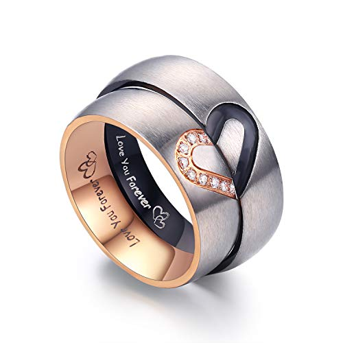 LAVUMO Matching Promise Rings for Couples Love You Forever Wedding Bands Sets for Him and Her Half Heart Rings Stainless Steel 6mm with Box Comfort Fit (Men 11 Women 8)