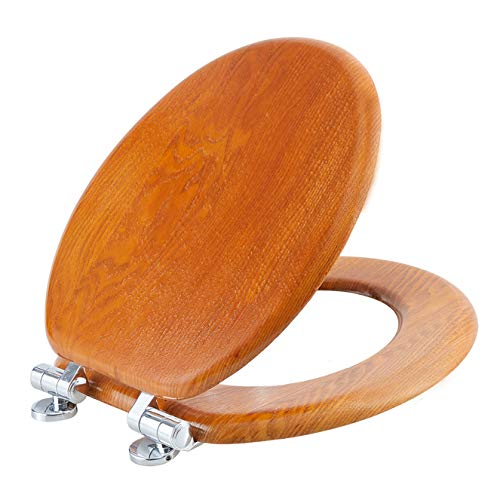 Angel Shield Wood Veneer Natural Toilet Seat with Quiet Close,Easy Clean, Quick-Release Hinges(Round,Wood)