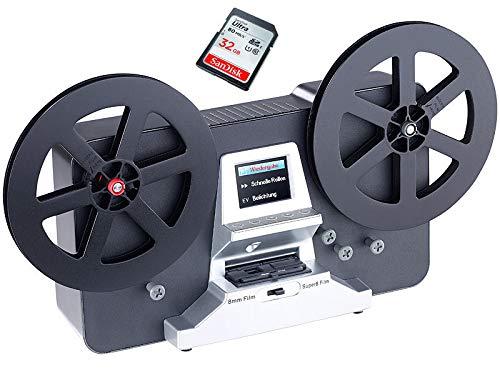 SUPER 8 Scanner (bis 17,5 cm Spulen), Somikon Super 8 - Normal 8 Filmscanner, Super 8 digitalisieren, inkl. 32 GB Speicherkarte & Erklärungsvideo