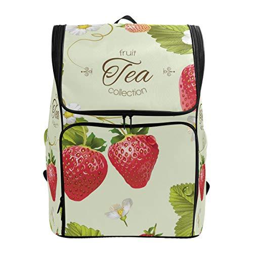 Jeansame Rucksack Schultasche Laptop Reisetasche Süße Erdbeere Tee Fruchtbienen für Kinder Jungen Mädchen Damen Herren