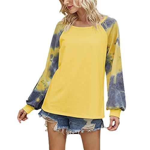 Las señoras Casual Sueltas Blusas Streetwear Mujeres Moda Otoño Cuello Redondo Delgado Camisas Manga Larga Patchwork Diseño Pullover Tops - - Large