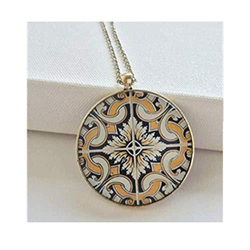 Halskette mit portugiesischen Fliesen, lange Halskette für Damen, gelb, schwarz und weiß, Muster, Metallanhänger, Weihnachtsgeschenk