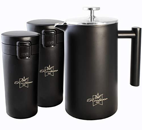 RoobieCo French Press x1 and Travel Mug x2 Coffee Set