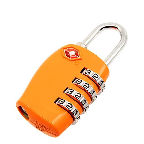 TRIXES Lucchetto di sicurezza a 4 combinazioni per valigia approvato dalla TSA - arancione