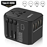 MIBOTE Universal Travel Adapter International Power Adapter Wall Charger Plug with 4 USB