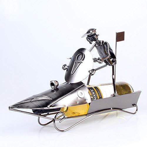 YAOJII Eisen Weinregal Schnellboot Motorboot Modell Weinrahmen Schmiedeeisen Handwerk Haushalt